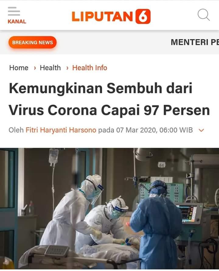 Kemungkinan Sembuh dari Virus Corona 97%